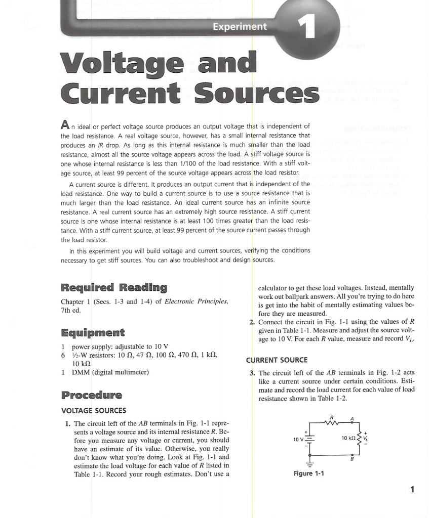 Solved Experiment Voltage And Current Sources An Ideal Or 6 Resistors In A Series Circuit Ii Question Perfect Source Produces Output Volt