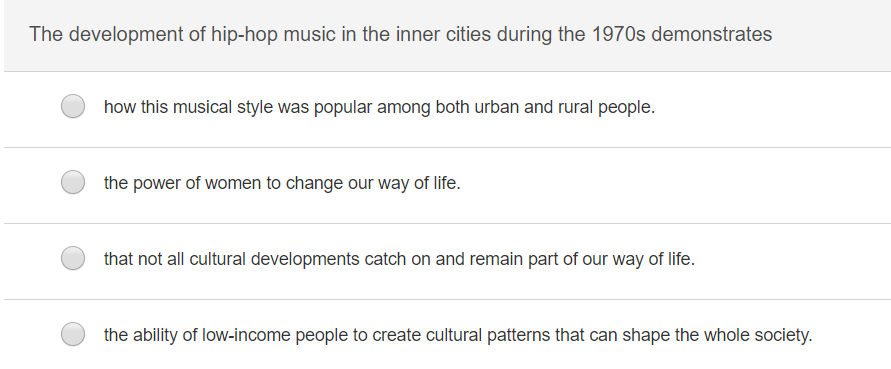 The development of hip-hop music in the inner cities during the 1970s demonstrates how this musical style was popular among both urban and rural people. the power of women to change our way of life. that not all cultural developments catch on and remain part of our way of life the ability of low-income people to create cultural patterns that can shape the whole society.