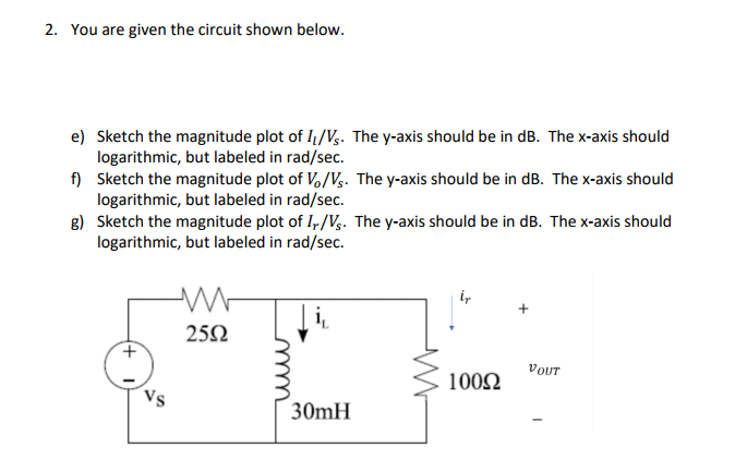 2. You are given the circuit shown below. e) Sketch the magnitude plot of I/V. The y-axis should be in dB. The x-axis should f Sketch the magnitude plot of Vo/Vs. The y-axis should be in dB. The x-axis should g) Sketch the magnitude plot of I/Vs. The y-axis should be in dB. The x-axis should logarithmic, but labeled in rad/sec. logarithmic, but labeled in rad/sec. logarithmic, but labeled in rad/sec. 10002 VOUT 30mH