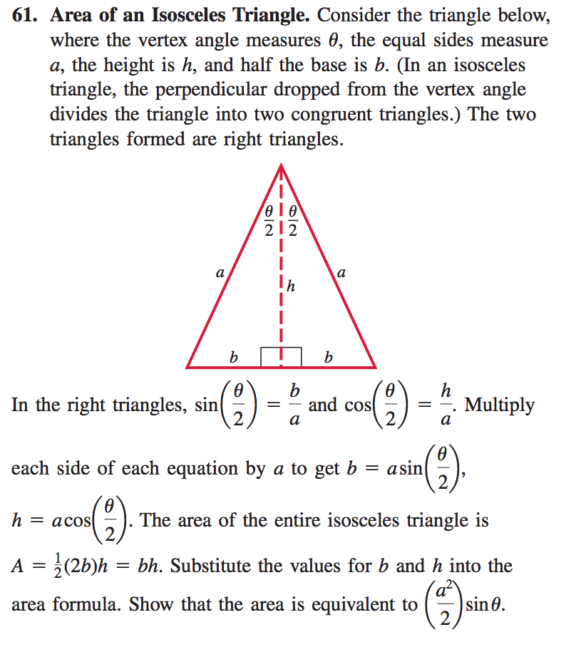 Solved 61 Area Of An Isosceles Triangle Consider The Tr