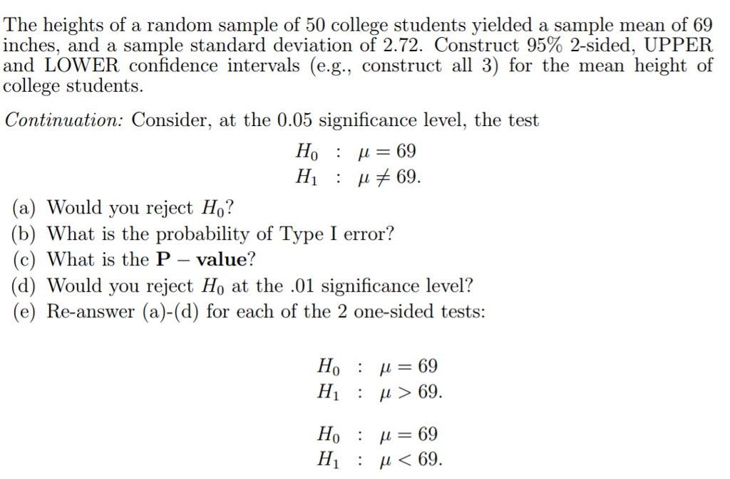 the heights of a random sample of 50 college stude chegg com