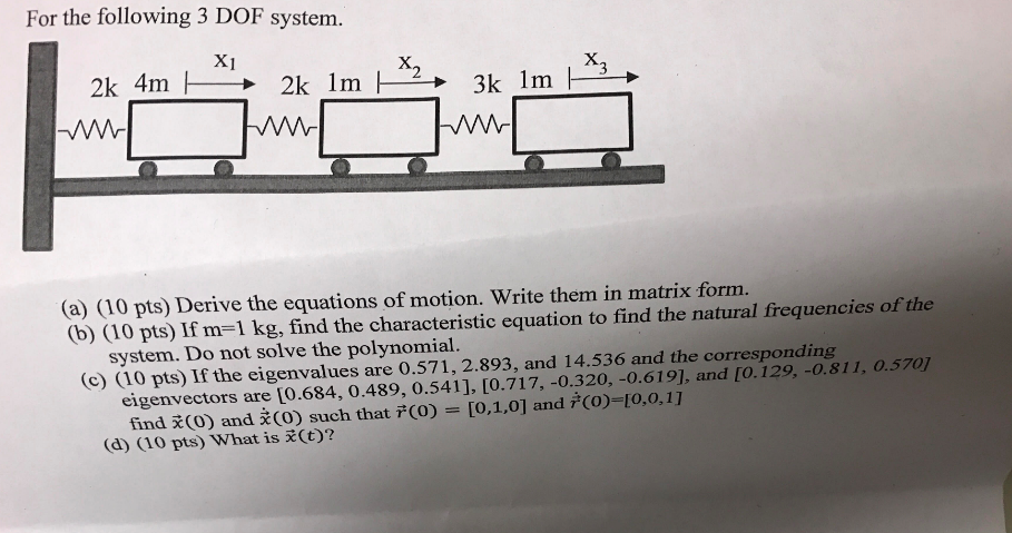 Solved: For The Following 3 DOF System  Derive The Equatio