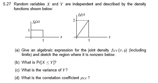 Solved 527 random variables x and y are independent and 527 random variables x and y are independent and described by the density functions shown below ccuart Choice Image