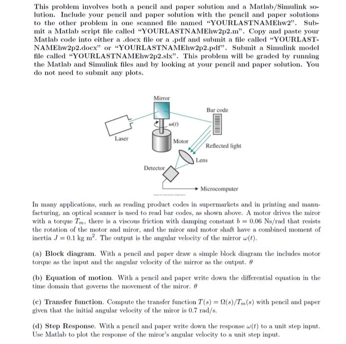 e) Simulate: Create A Simulink Model Of The Mirro      Chegg com