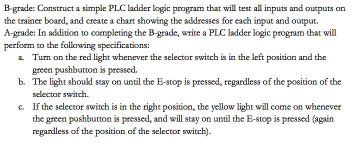 B-grade: Construct A Simple PLC Ladder Logic Progr    | Chegg com