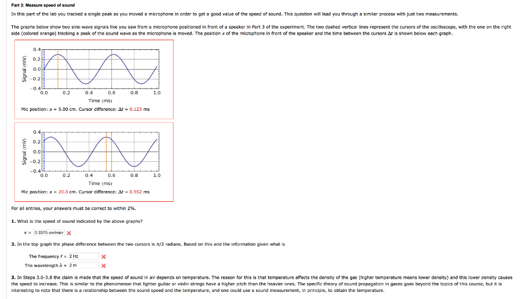 Solved: Part 3: Measure Speed Of Sound In This Part Of The