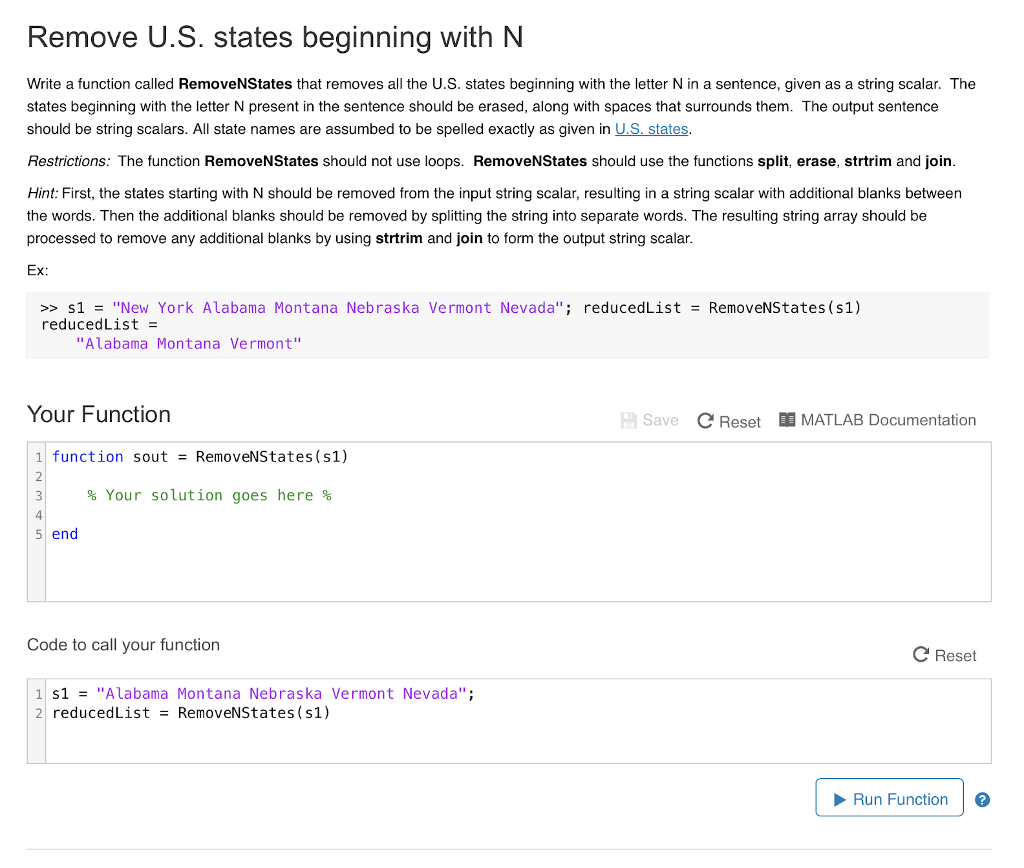 Solved: Remove U.S. States Beginning With N Write A Functi