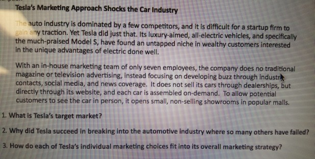 Solved: Tesla's Marketing Approach Shocks The Car Industry