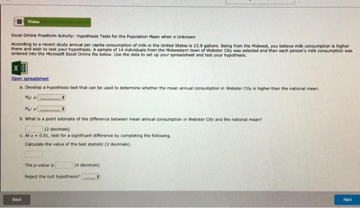 Solved Excel Online Freeform Activity Hypothesis Tests F