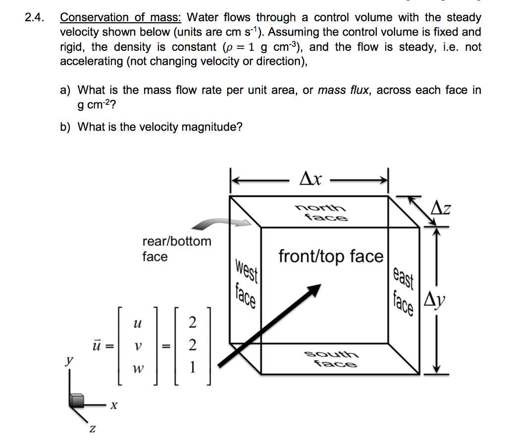 Solved: 2 4  Conservation Of Mass: Water Flows Through A C