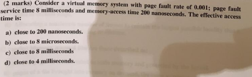 Solved: Consider A Virtual Memory System With Page Fault R
