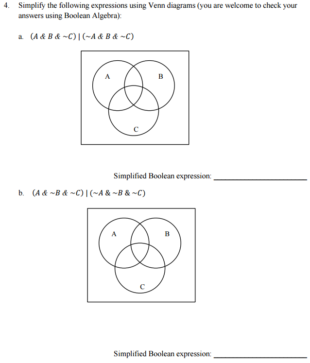 Solved Simplify The Following Expressions Using Venn Diag