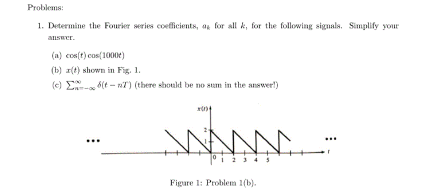 Image For Problems: 1 Determine The Fourier Series Coefficients, Ak For  All K