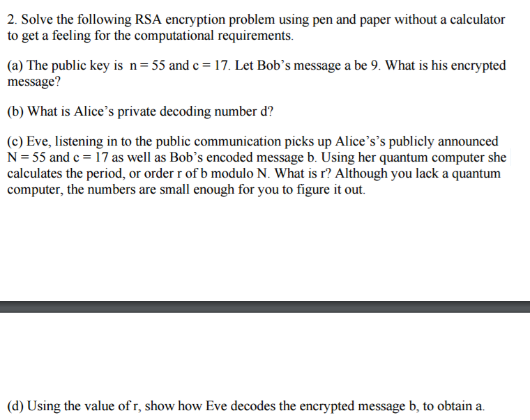 Solve The Following RSA Encryption Problem Using P    | Chegg com