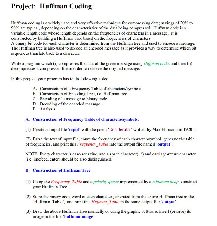 Project: Huffman Coding Huffman Coding Is A Widely