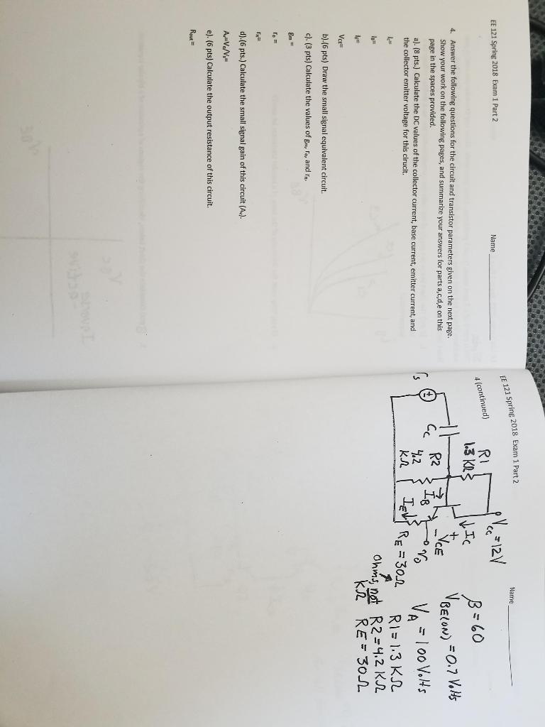 Solved: 121 Spring 2018 Exam 1 Part 2 Name EE 121 Spring 2 ...