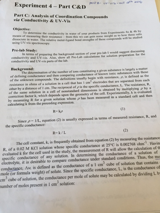 Inorganic Chemistry Post-Lab Experiment Question T    | Chegg com