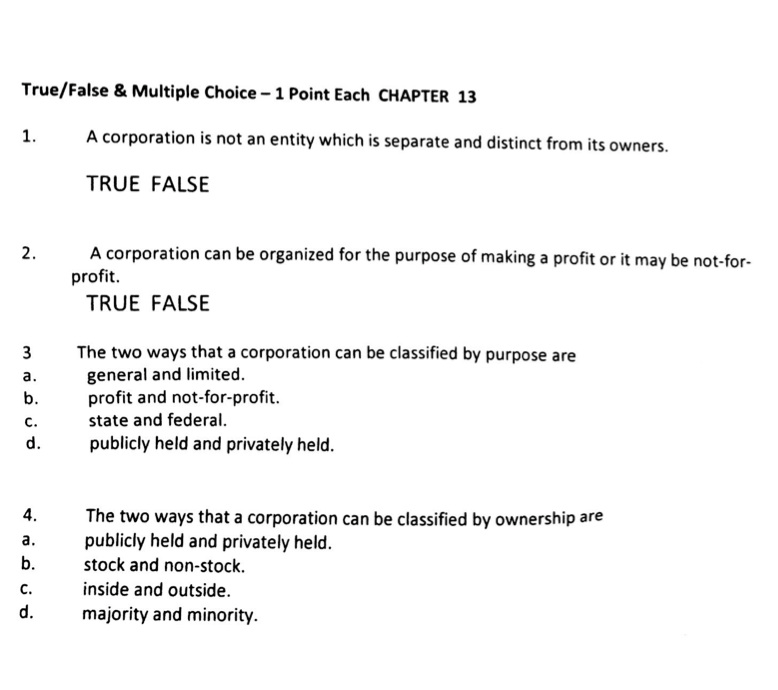 Solved A Corporation Is Not An Entity Which Is Separate A