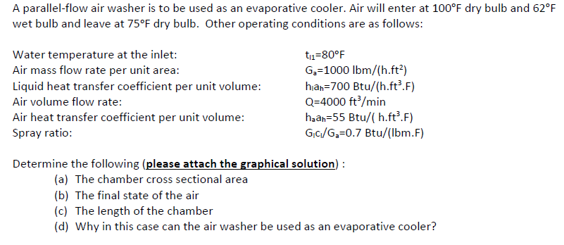 A Parallel Flow Air Washer Is To Be Used As An Evaporative Cooler. Air