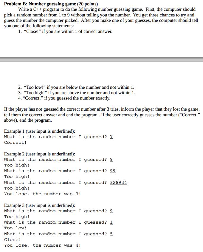 Solved Write A C Program To Do The Following Number Gue Chegg Com