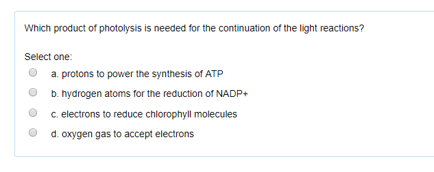 Solved Which Product Of Photolysis Is Needed For The Cont