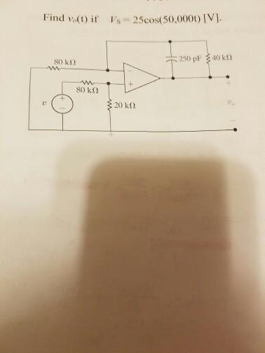 Find v_(t) V_s = 25cos (50,000t) [V]