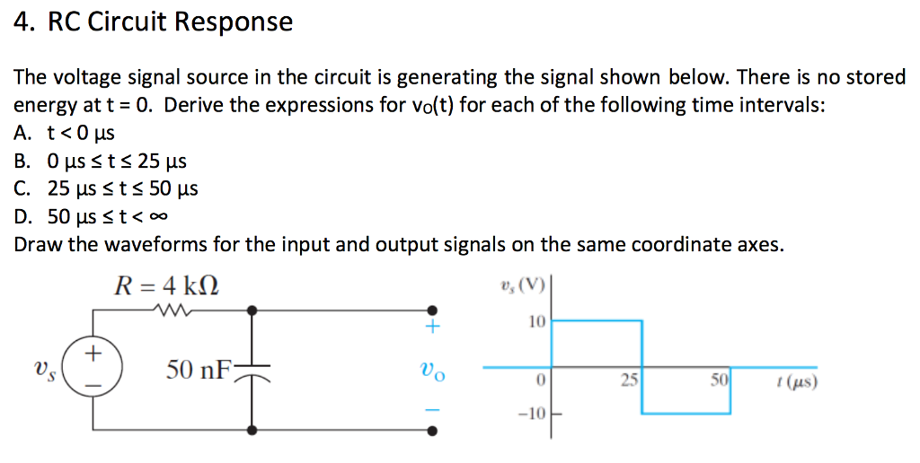 Solved: 4  RC Circuit Response The Voltage Signal Source I