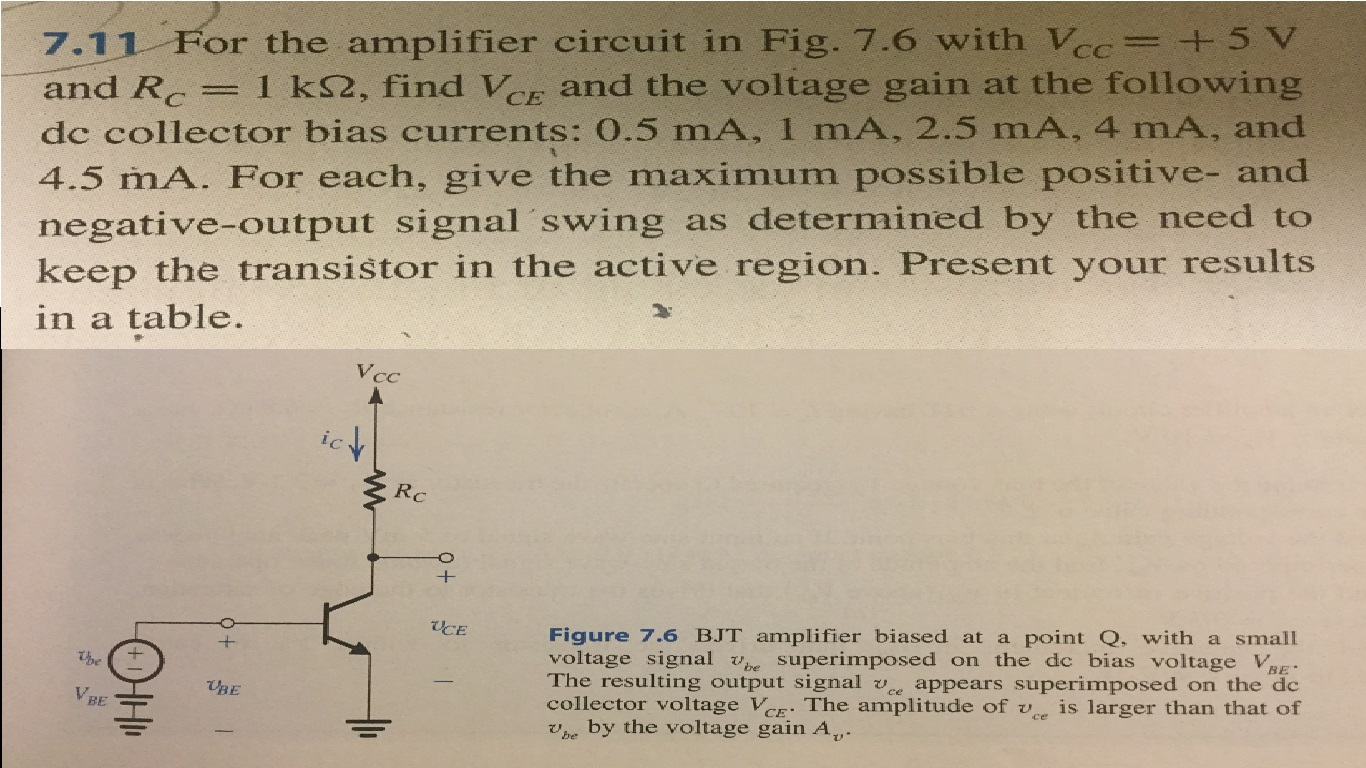 Solved For The Amplifier Circuit In Fig 76 With V Cc As Shown This Can Be A Voltage Signal
