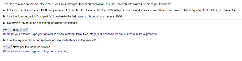 The birth rate in a certain country in 1996 was 14.4 births per thousand population. In 2006, the birth rate was 14.05 births per thousand. a. Let x represent years after 1996 and y represent the birth rate. Assume that the relationship between x and y is linear over this period. Write a linear equation that relates y in terms of x b. Use the linear equation from part (a) to estimate the birth rate in this country in the year 2016 a. Determine the equation describing the linear relationship. y0.035xt 14.4 (Simplify your answer. Type your answer in slope-intercept form. Use integers or decimals for any numbers in the expression.) b. Use the equation from part (a) to determine the birth rate in the year 2016. 13.70 births per thousand population. Simplify your answer. Type an integer or a decimal.)