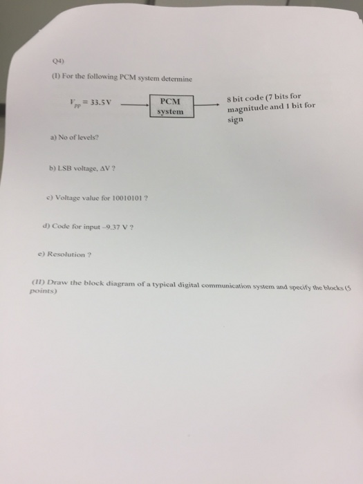 for the following pcm system determine no of leve