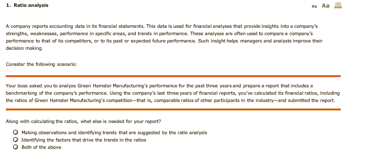 solved 1 ratio analysis aa aa a company reports accounti