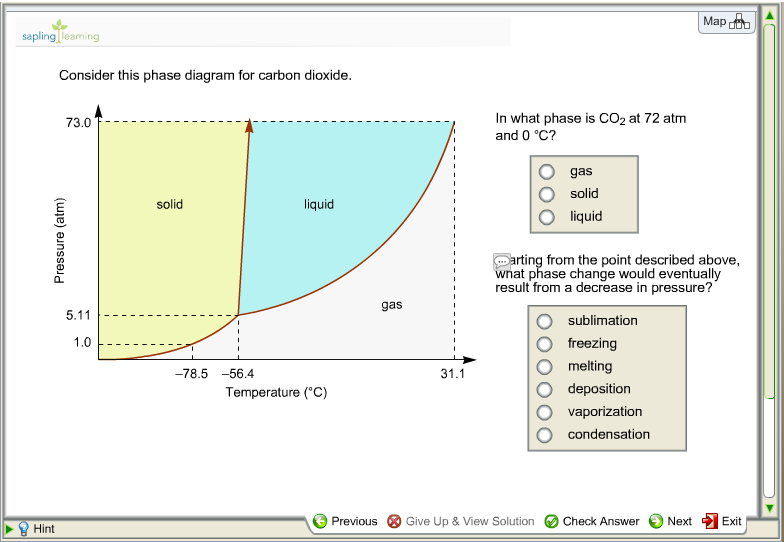 Solved map sapling learning consider this phase diagram f question map sapling learning consider this phase diagram for carbon dioxide in what phase is co2 at 72 at ccuart Image collections