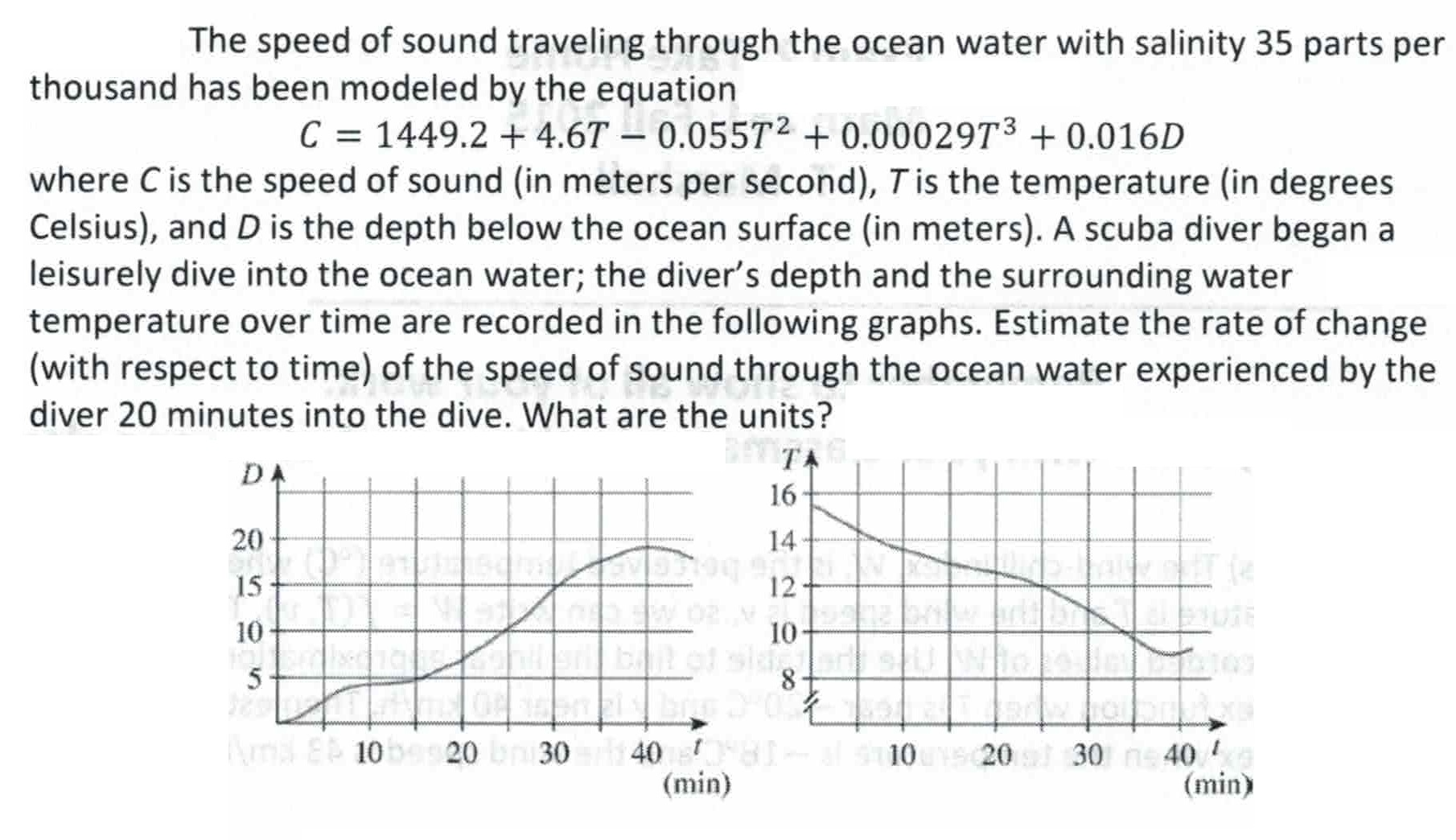 Speed of sound in water