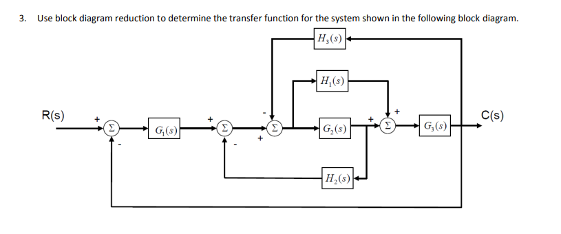 use block diagram reduction to determine the transfer function for the  system shown in