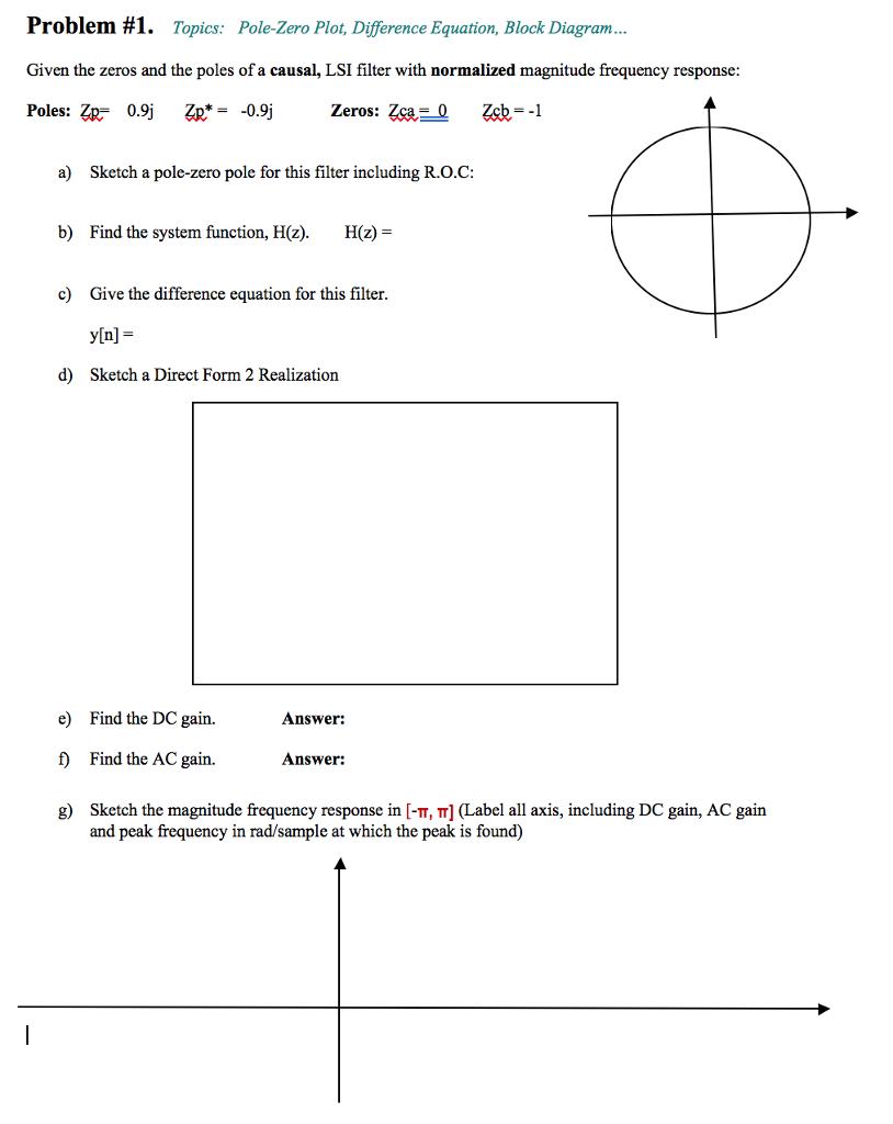 Problem #1. Topics: Pole-Zero plot, Difference Equation, Block Diagram