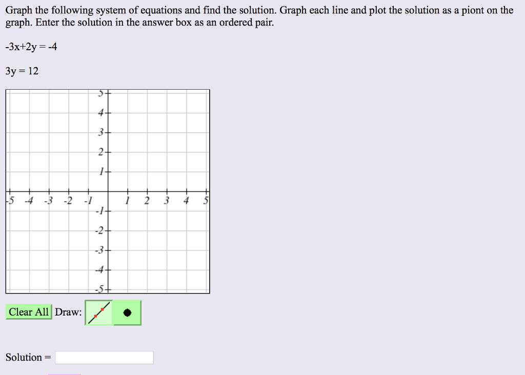 Choose the graph that matches the following system of