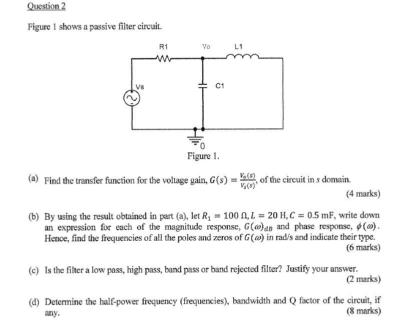 question 2 figure 1 shows a passive filter circuit  l1 r1 c1 vs figure 1