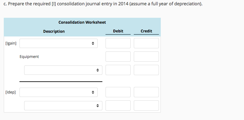 Solved: Preparing The [I] Consolidation Journal Entries Fo ...