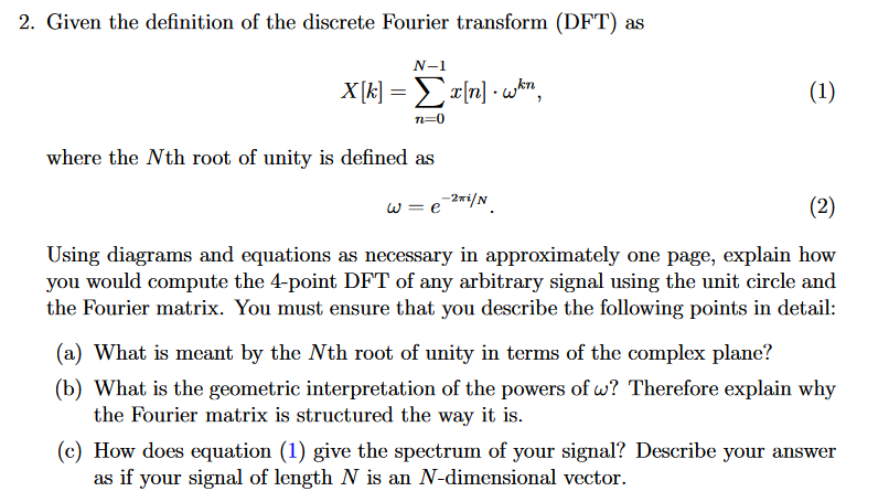 Solved 2 Given The Definition Of The Discrete Fourier Tr