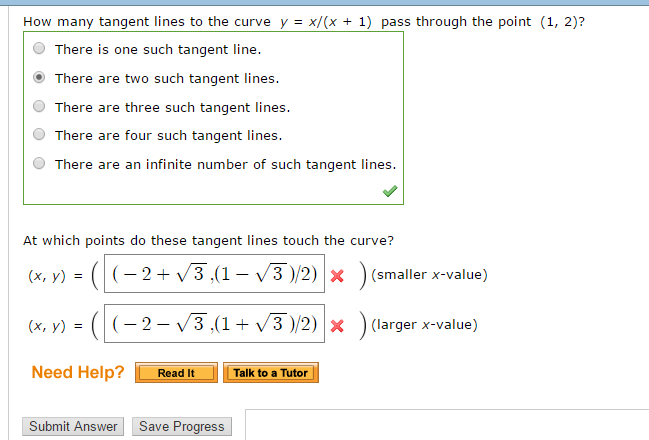 solved how many tangent lines to the curve y x x 1