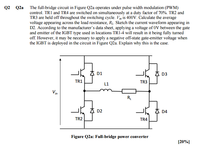 electrical engineering archive 15 2017 chegg com q2 q2a the full bridge circuit in figure q2a operates under pulse width modulation
