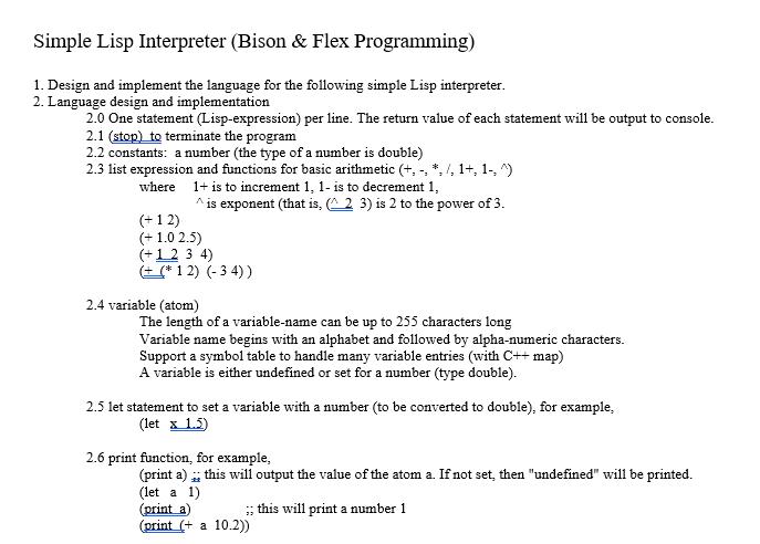 Simple Lisp Interpreter Bison Flex Programming Chegg
