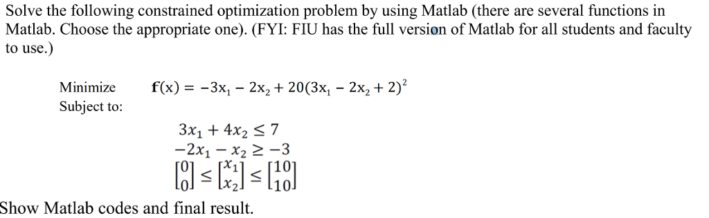Solved: Solve The Following Constrained Optimization Probl
