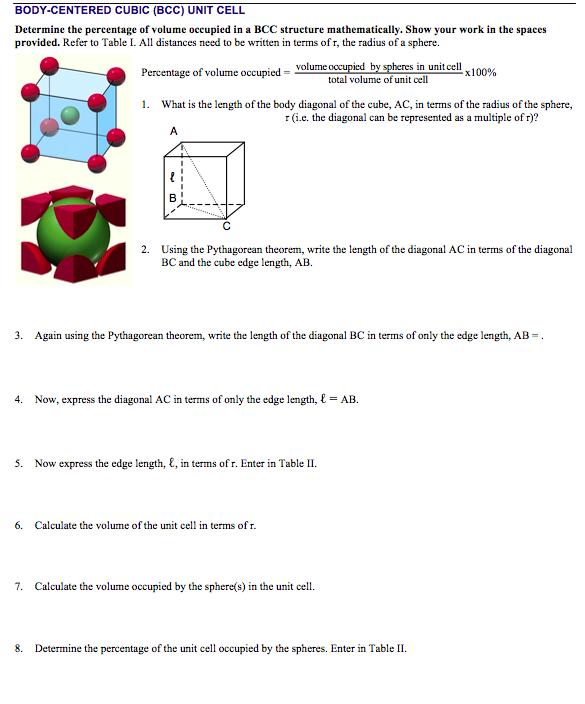 Solved: Cr Ystal Lattices And Unit Celis Worksheet Doc Rep ...