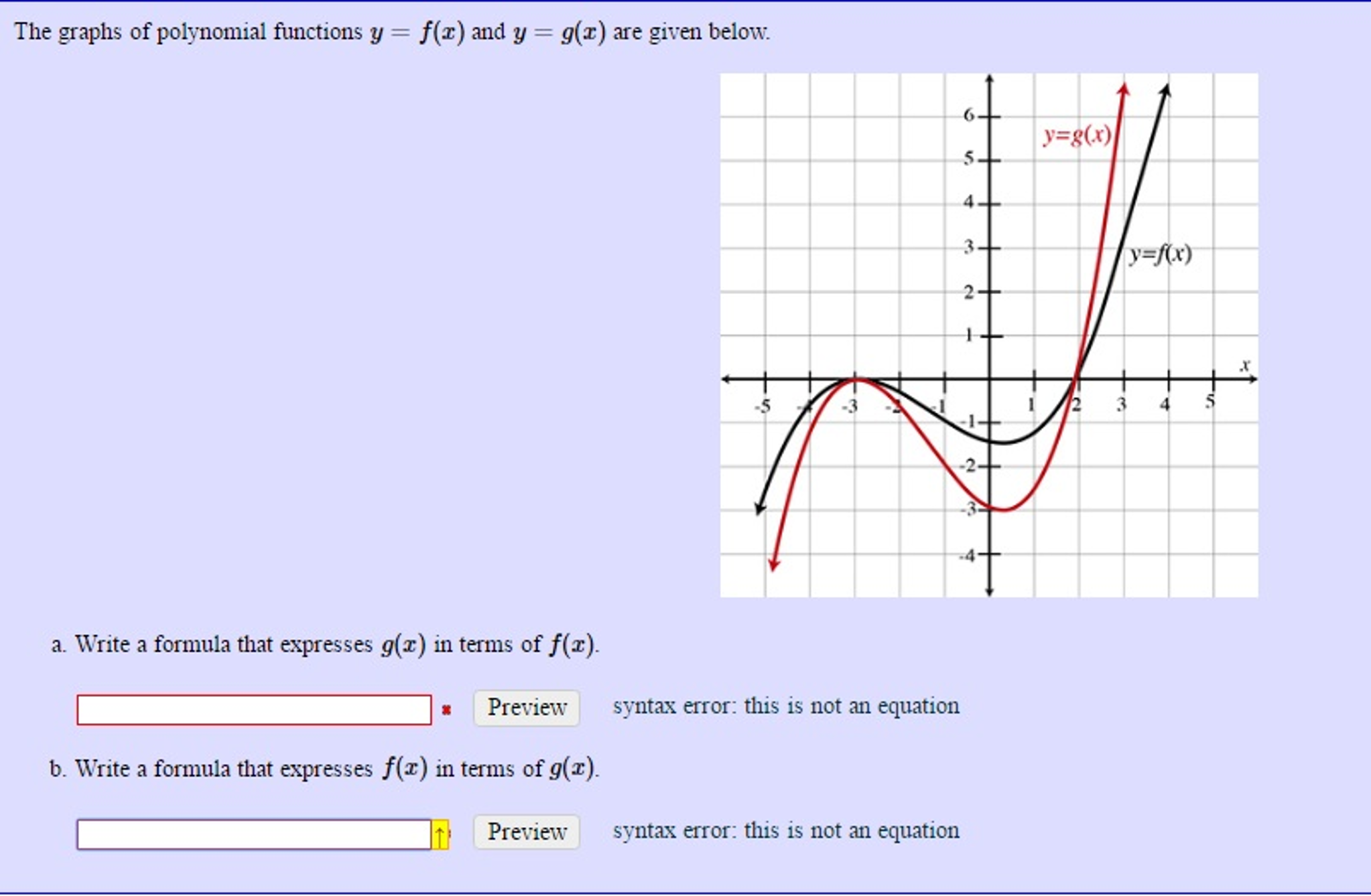 solved the graphs of polynomial functions y  fx and y