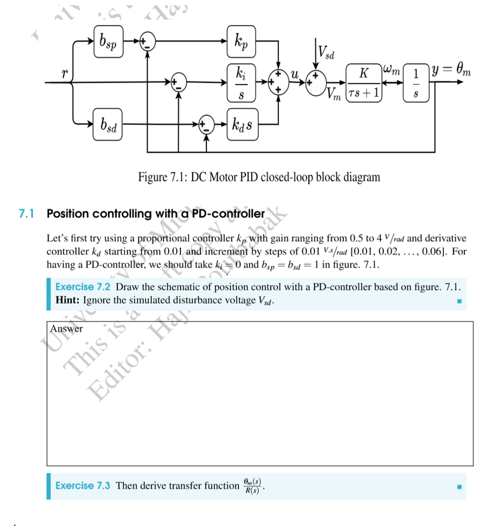 Solved Sp Ts 1 Sd Figure 71 Dc Motor Pid Closed Loop Bl Schematic Block Diagram Question Position Controlling With A Pd
