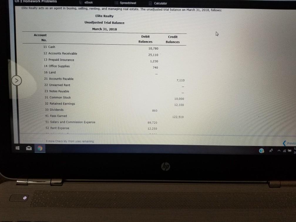 Solved: Ch 2 Homework Problems EBook Calculator Elite Real