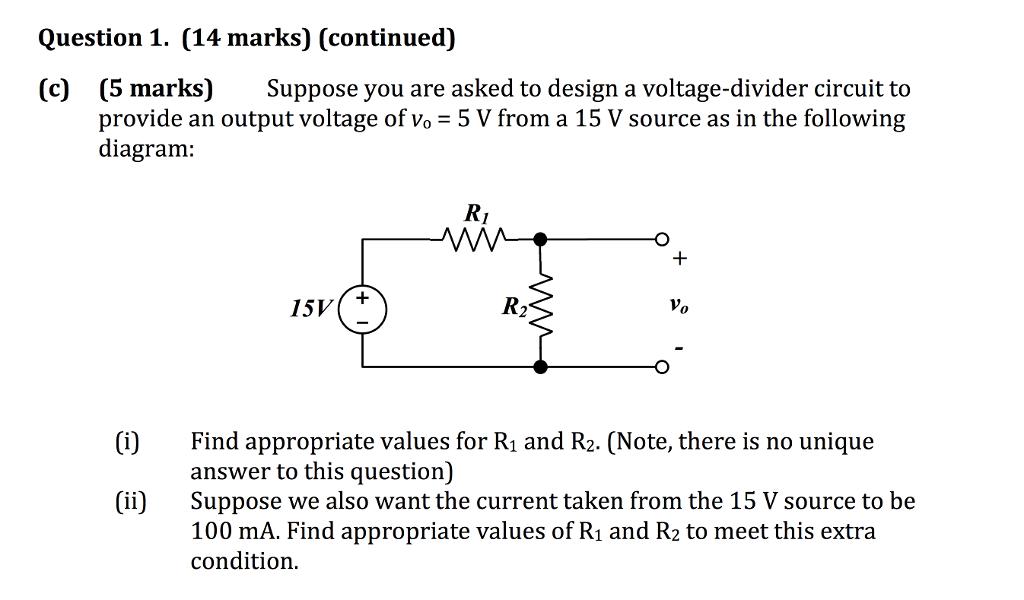 Surprising Solved Suppose You Are Asked To Design A Voltage Divider Wiring Digital Resources Bemuashebarightsorg