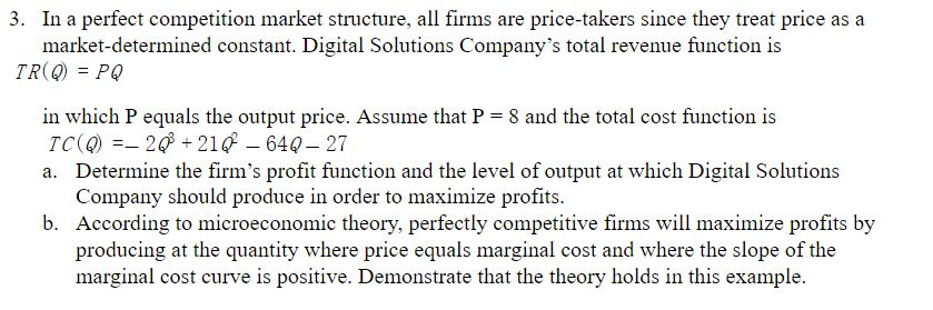 perfect competition market structure