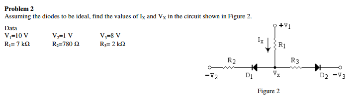 Problem 2 Assuming the diodes to be ideal, find the values of Ix and Vx in the circuit shown in Figure 2. Data V10 V R2 R3 D2-V3 Di x Figure 2 -V2